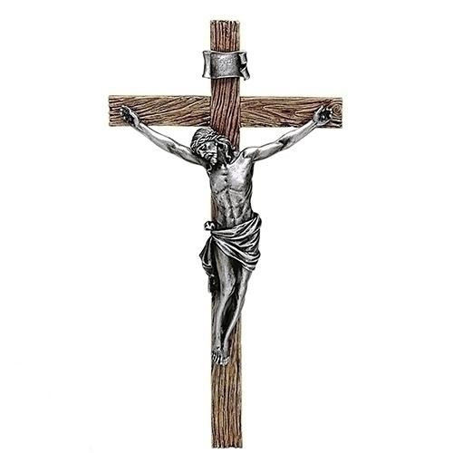 Large Wall Crucifix: Antique Look Silver 34cm