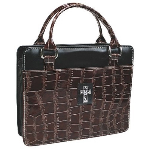Bible Case Brown Embossed Purse Style