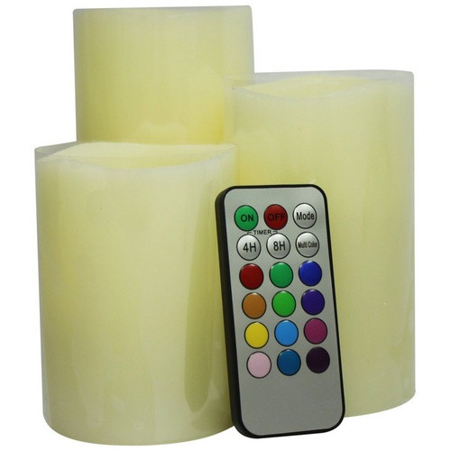 Remote Control Battery Powered LED Pillar Candles - Set of 3
