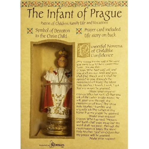 Boxed Statue with prayer card, Infant of Prague