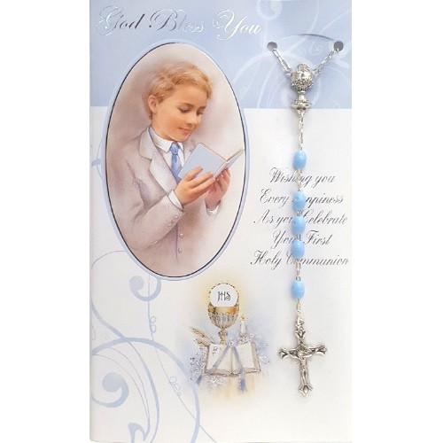 Card and Rosary: On Your First Communion Day - Blue