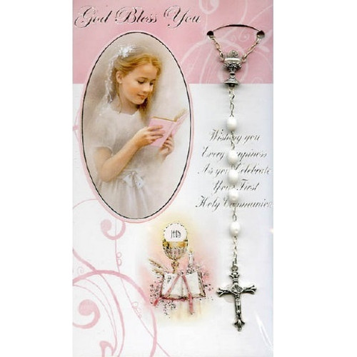 Card: First Holy Communion with White Rosary - Girl