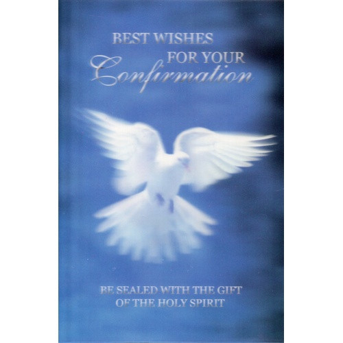 Card: Confirmation - 3D Blue with Dove