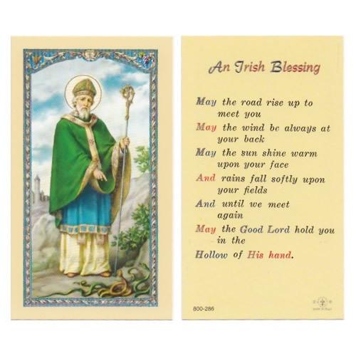 Holy Prayer Card: St Patrick/An Irish Blessing - 6cm x 10.5cm