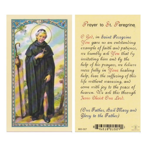 Holy Prayer Card: St Peregrine - 6cm x 10.5cm