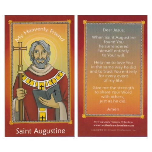 Cartoon Holy Card: St Augustine - 6.5cm x 11.5cm