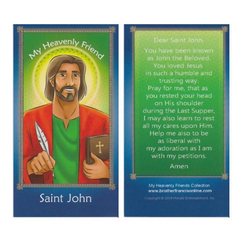 Cartoon Holy Card: St John - 6.5cm x 11.5cm