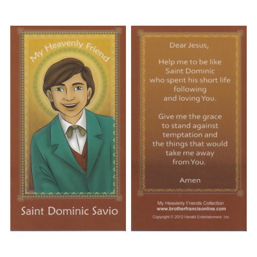Cartoon Holy Card: St Dominic Savio - 6.5cm x 11.5cm