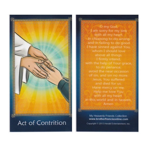 Cartoon Holy Card: Act of Contrition - 6.5cm x 11.5cm