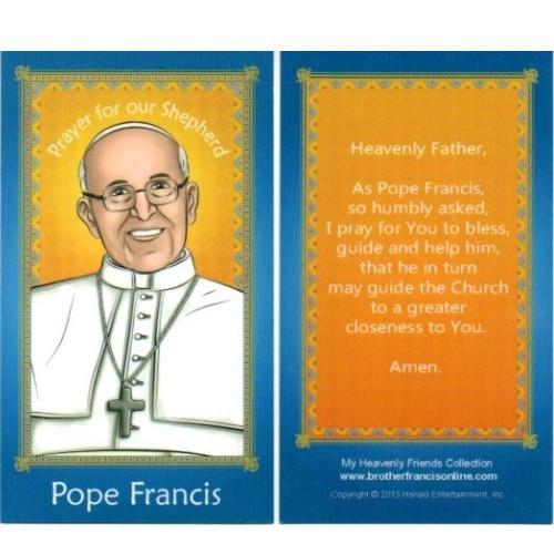 Cartoon Holy Card: Pope Francis - 6.5cm x 11.5cm
