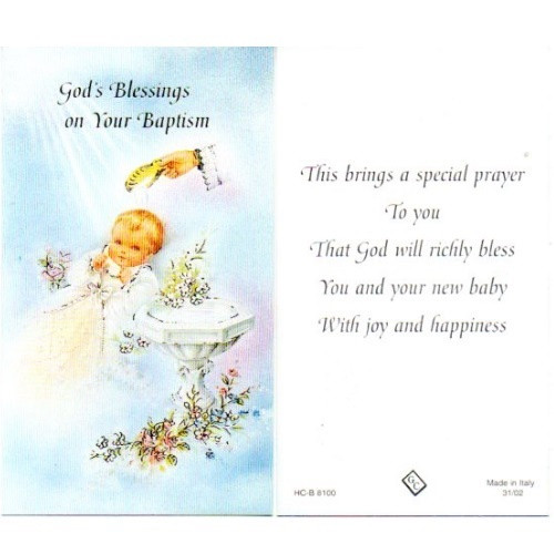 Holy Card: God's Blessings on Your Baptism - 7cm x 12cm