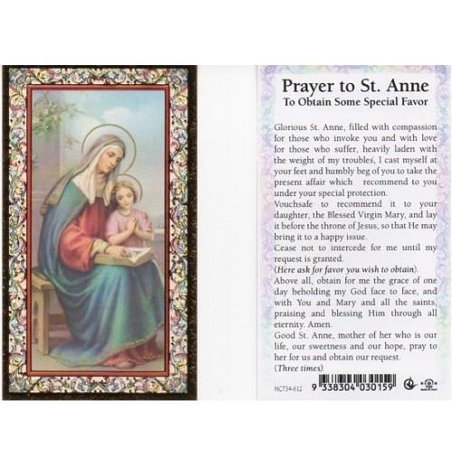 Holy Prayer Card: St Anne - 7cm x 12cm