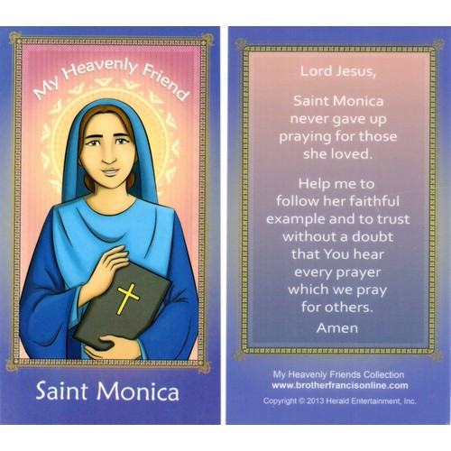 Cartoon Holy Card: St Monica - 6.5cm x 11.5cm