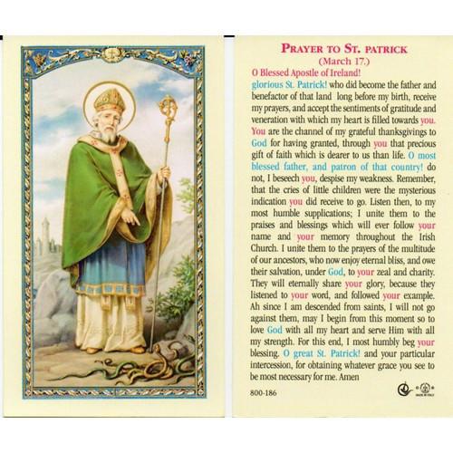 Holy Prayer Card: Prayer to St Patrick - 6cm x 10.5cm