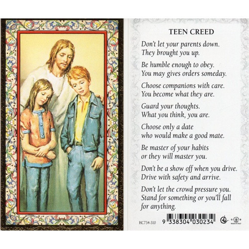 Holy Prayer Card: Teen Creed - 6cm x 10.5cm