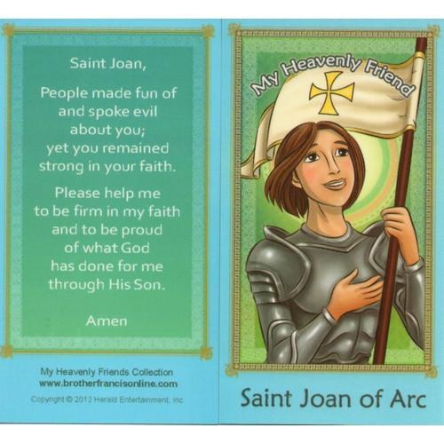 Cartoon Holy Card: St Joan of Arc - 6.5cm x 11.5cm