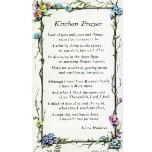 Holy Prayer Card: Kitchen Prayer - 7cm x 12cm