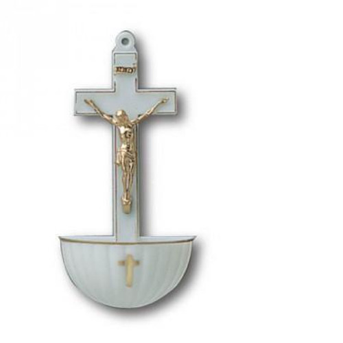 Holy Water Font: White Crucifix