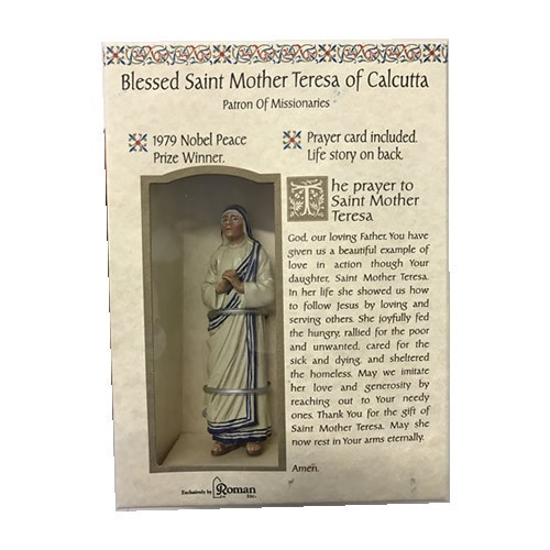 Boxed Statue with Prayer card: St Mother Teresa