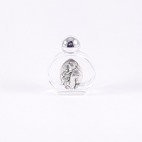 Glass Holy Water Bottle: St Anthony
