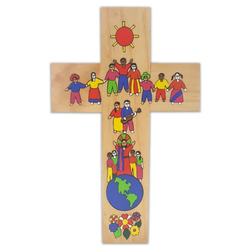 Cross:  Wood Joining Hands 30cm