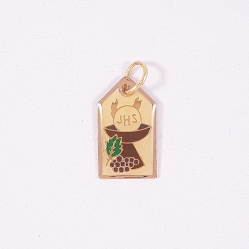 Gold First Holy Communion Medal - Triangular Top 12mm