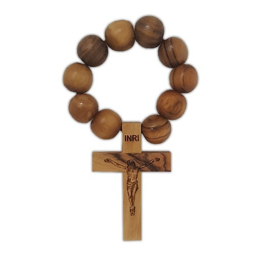 Finger Rosary: Olive Wood Crucifix