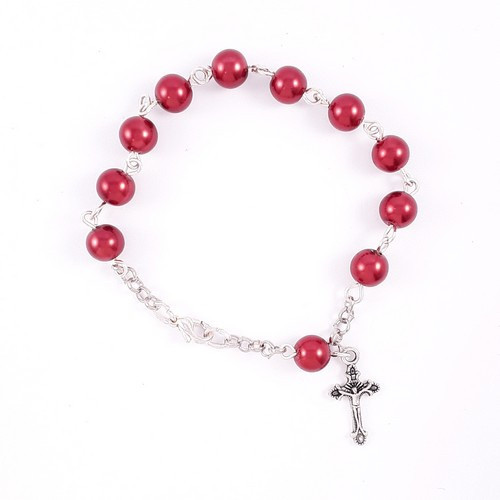 Rosary Bracelet 1 Decade - Glass Pearl SP 8mm