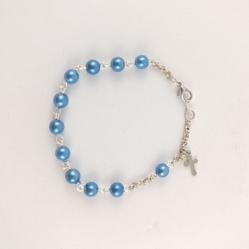 Rosary Bracelet 1 Decade - Glass Pearl SP / Sky Blue 6mm