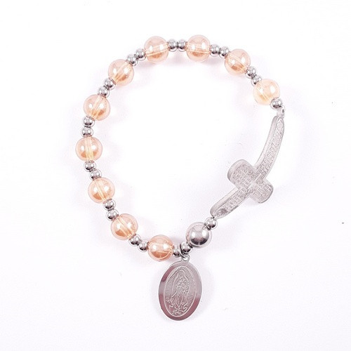 Rosary Bracelet: Stainless Steel Etched - Gold/Silver Beads