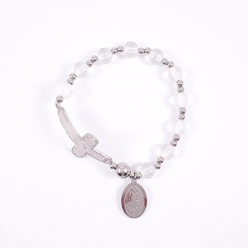Rosary Bracelet: Stainless Steel Etched - Clear/Silver Beads