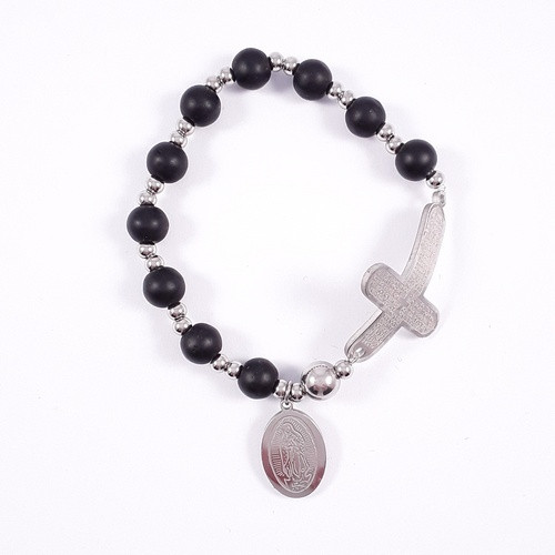 Rosary Bracelet: Stainless Steel Etched - Black/Silver Beads