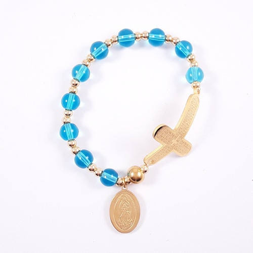 Rosary Bracelet: Stainless Steel Etched - Blue/Yellow Gold Beads
