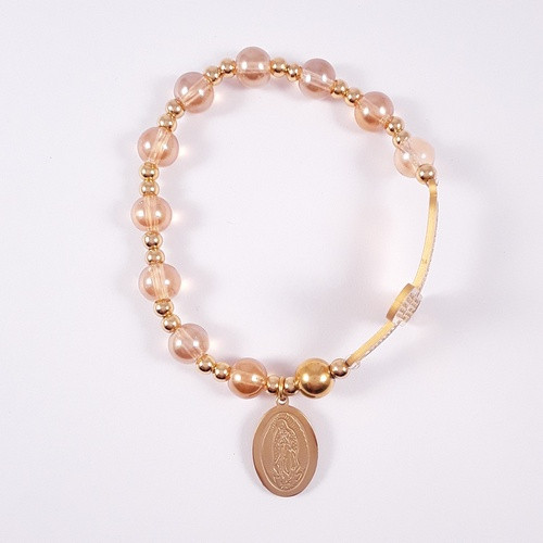Rosary Bracelet: Stainless Steel Etched - Gold/Yellow Gold Beads