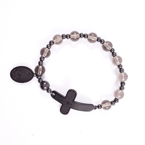 Rosary Bracelet: Stainless Steel Etched - Smokey/Black Beads