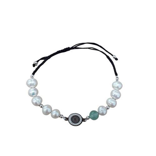Rosary Bracelet: Pearl / Jade / Diamante - Silver