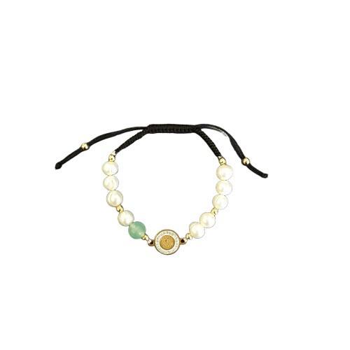 Rosary Bracelet: Pearl / Jade / Diamante - Gold