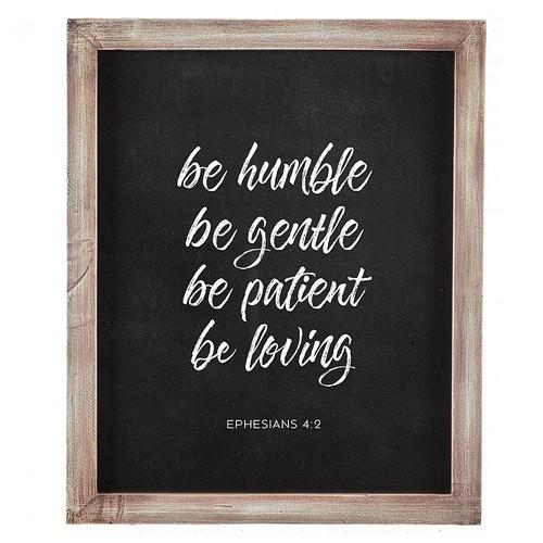 Wall Plaque: Humble, Gentle, Patient, Loving - Wood 33cm x 40cm