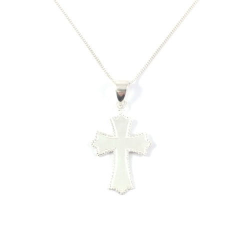 Sterling Silver Cross Pendant with detailed edging