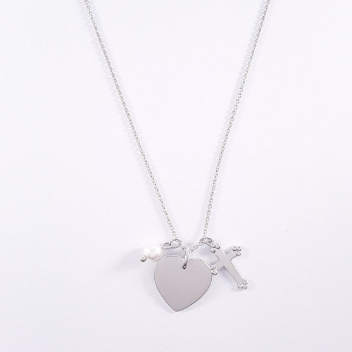 Sterling Silver Heart / Pearl / Cross Necklace