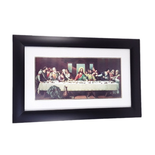 Framed Picture: Last Supper 48 x 31cm Black Frame