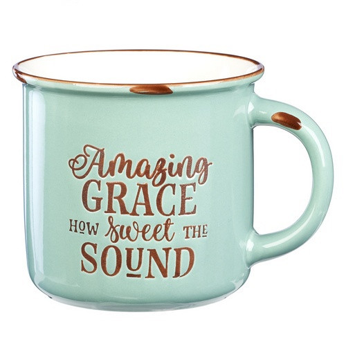 Camping Mug: Amazing Grace Green/White