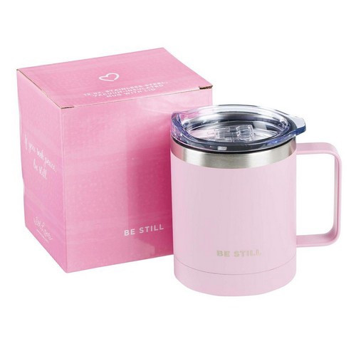 Camp Mug: Be Still - Pink Stainless Steel with Lid