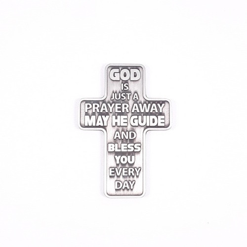 Metal Pocket Cross: God Is Just A Prayer Away