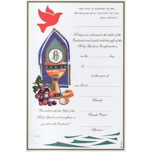 Certificate: First Holy Communion and Confirmation - Gold Border