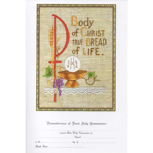 Certificate: First Holy Communion - Body of Christ