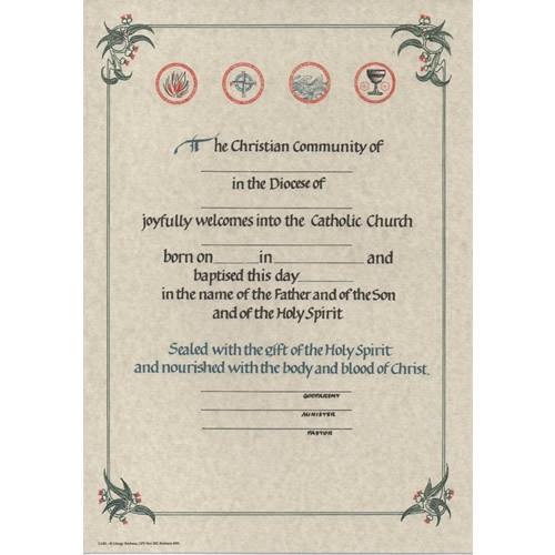 Certificate: RCIA Baptism - Rough Paper