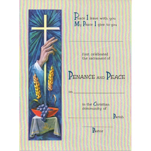 Certificate: Reconciliation - Penance and Peace