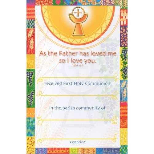 Certificate: First Holy Communion - Colourful