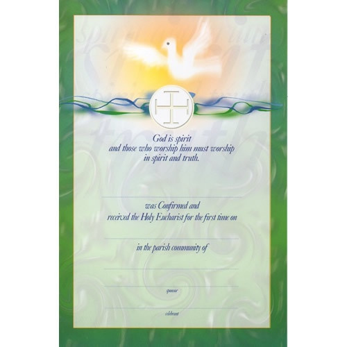 Certificate: First Holy Communion and Confirmation - Green